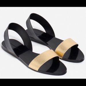 Zara Black & Gold Sandals